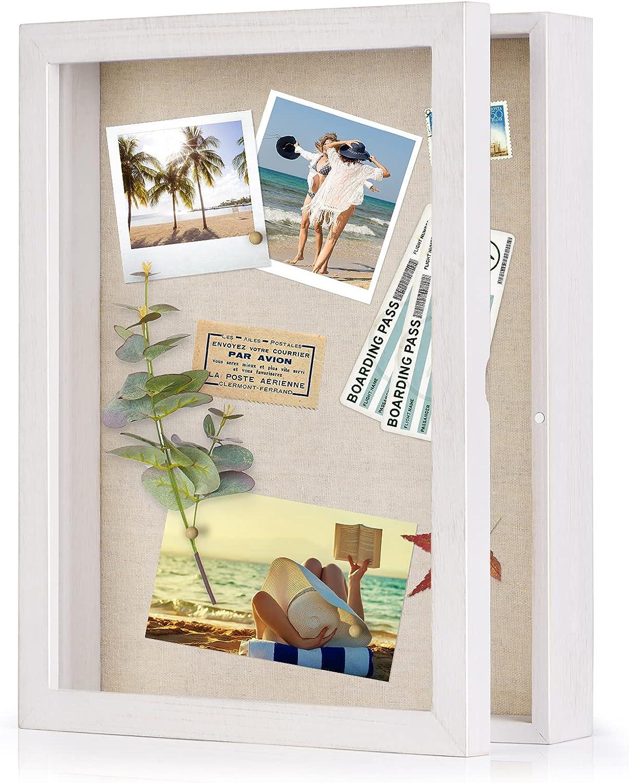 Love-KANKEI Shadow Box Frame 11x14 Shadow Box Display Case with Linen Back Memorabilia Awards Medals Photos Memory Box Rustic White