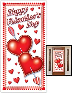 Beistle Happy Valentine's Day Door Cover, 30-Inch by 5-Feet, 1 Per Package