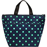 Mziart Insulated Lunch Bag Reusable Oxford Cloth Lunch Box Tote Bag Bento Cooler Bag (Dark Blue Dots)