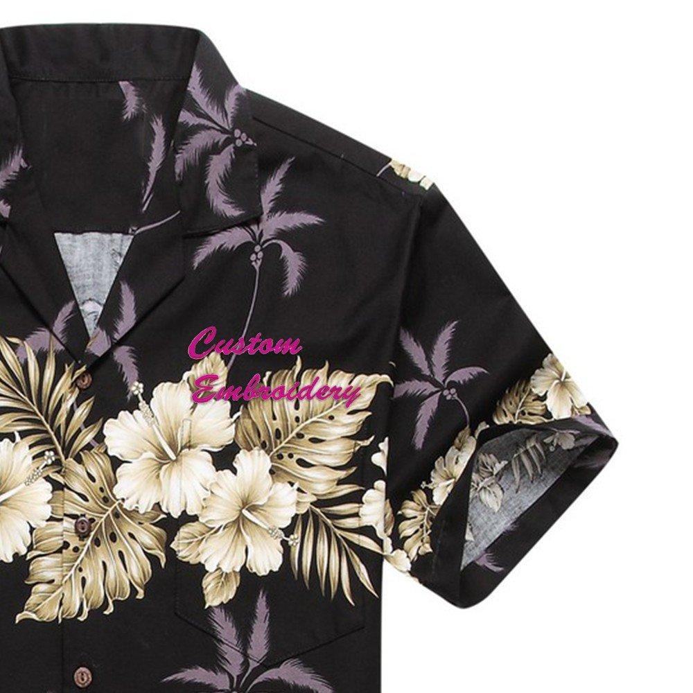 Made in Hawaii Mens Hawaiian Shirt Aloha Shirt Palm with Cross Hibiscus in Black