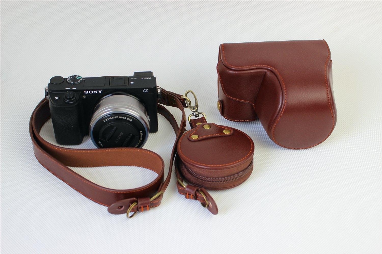 6D Mark II Camera Case LavaBrown BolinUS Handmade Genuine Real Leather Half Camera Case Bag Cover for Canon Eos 6D Mark II Camera Bottom Opening Version Hand Strap