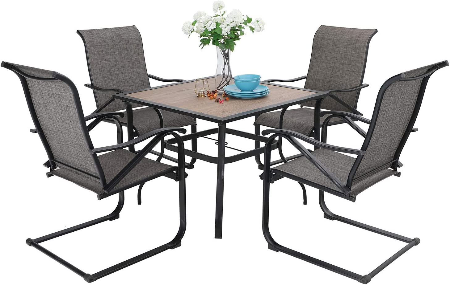 "Sophia & William Patio Dining Set, 4 x C Spring Motion Chairs Furniture Set,1 Square 37""x 37"" Wood Like Umbrella Table for Outdoor Lawn Garden Pool Metal Frame Easy to Care Weather Resistant"