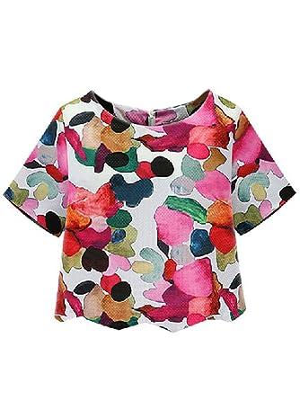 b95f1bf1de SheIn Women's Casual Calico Print Crop Blouse at Amazon Women's ...