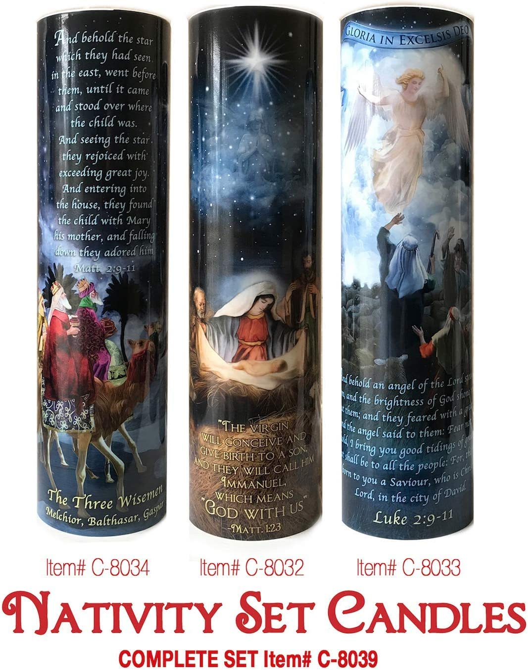 Christmas Set of Three Nativity, WISEMEN, Angels and Shepards LED Flameless Devotion Prayer Candle, Religious Gift, 6 Hour Timer for More Hours of Enjoyment and Devotion