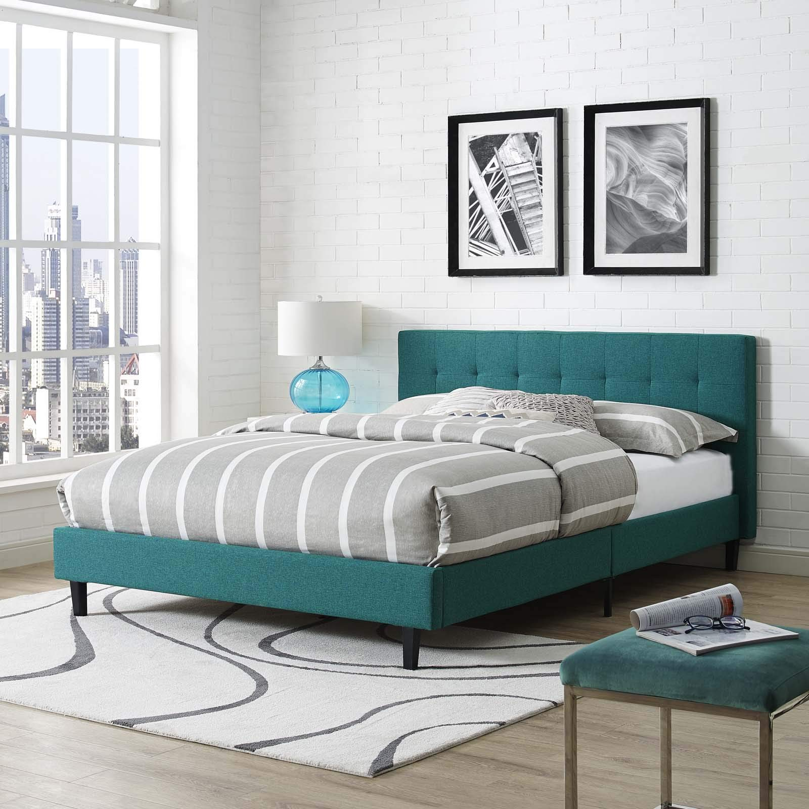 Modway Linnea Upholstered Teal Platform Bed with Wood Slat Support in Full