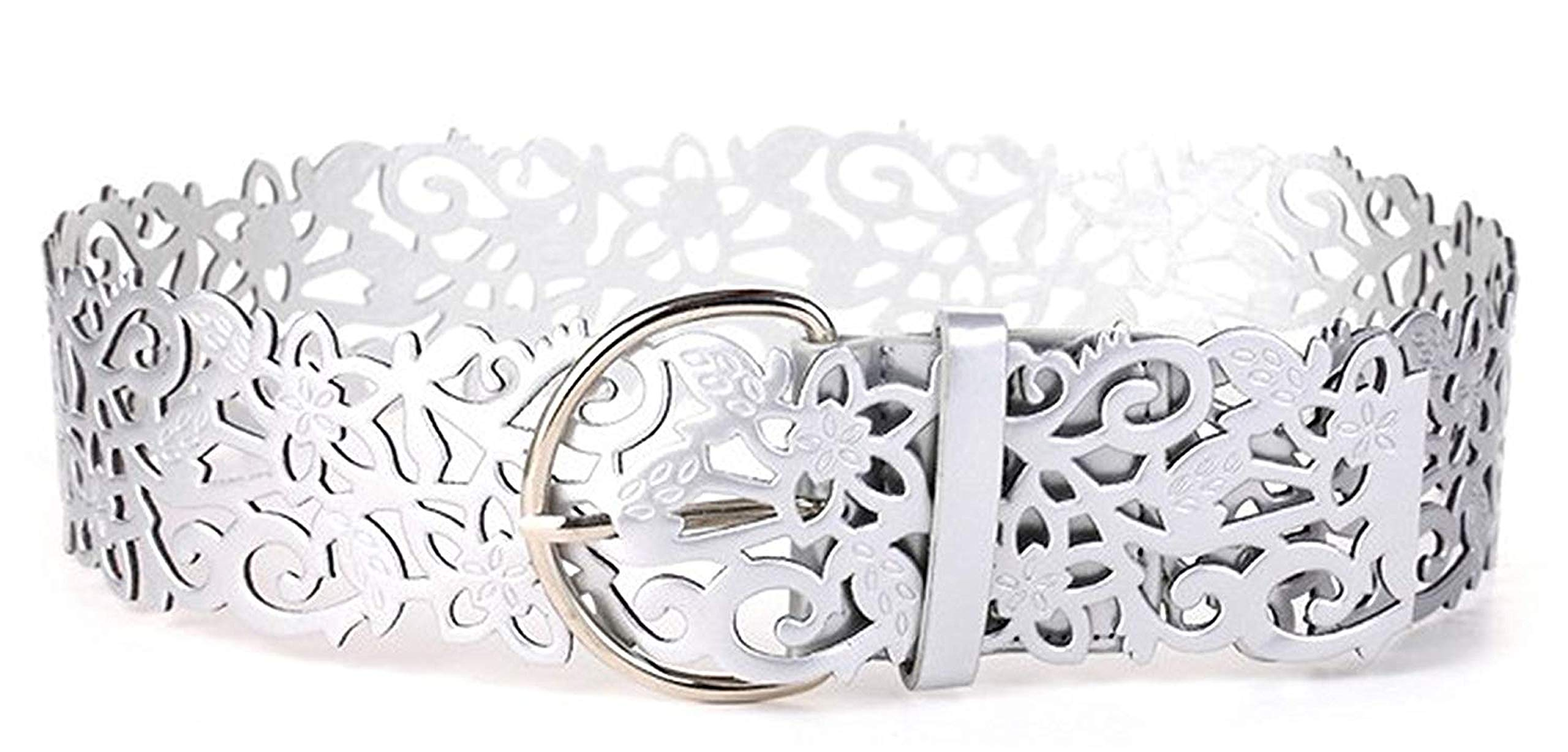 Mainstream Fashion flower cummerbund wide strap belt pins women's hollow vestidos cinto lady,OneSize,Silver Color