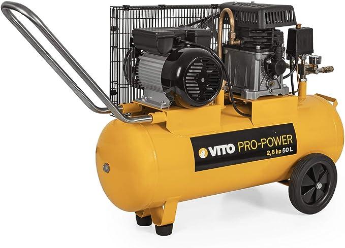 Vito Professional 1850w 2 5ps 50l 12 Bar Max Druckluftkompressor Mit Ölschmierung Druckminderer Manometer 2 Schnellkupplung Rückschlagsventil Sicherheitsventil 233l Min 50 Liter Kompressor Baumarkt