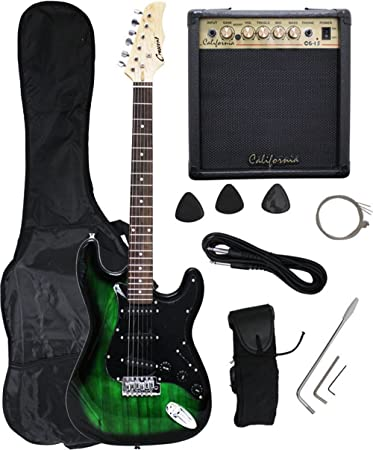 Amazon Crescent GREEN BLACK Electric Guitar 15w AMP Strap Cord Gigbag NEW Musical Instruments