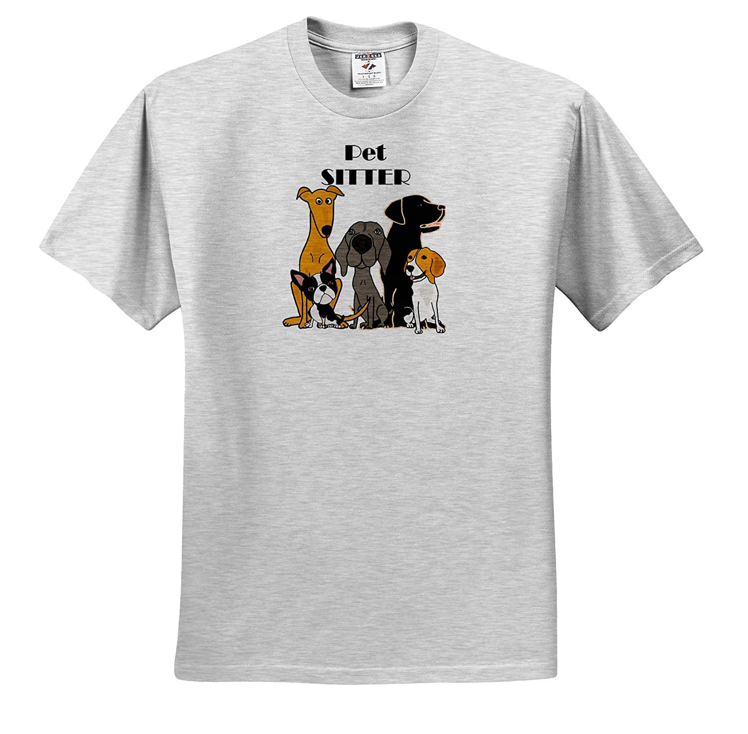 ts/_317715 Funny Cute Pet Sitter Pet Rescue Dog Cartoon Pets 3dRose All Smiles Art Adult T-Shirt XL