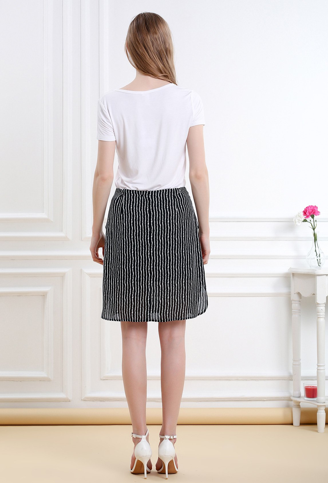 Women Striped Split Mini Skirt Crossed Front Casual A-line Skirt with Zipper XL by Vero Viva (Image #2)
