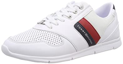 Tommy Hilfiger Womens Lightweight Leather Sneaker Low-Top, Red (RWB 020) 4