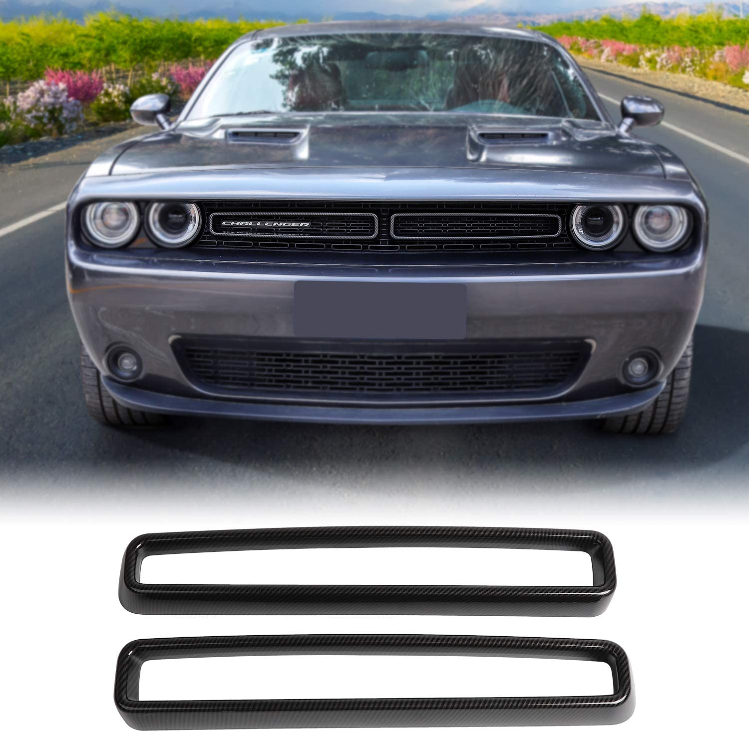 amazon com jecar front grill inserts guards grille insert cover trim challenger accessories for dodge challenger 2015 2019 carbon fiber pattern automotive jecar front grill inserts guards grille insert cover trim challenger accessories for dodge challenger 2015 2019 carbon fiber pattern