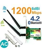 WiFi Card AC 1200Mbps,Wireless Network Card,Ubit 8260 Wireless Network Card with Bluetooth 4.2 Network Server Adapter,Dual-Band 5G/2.4G,PCI-E Wireless WI-FI Adapter Network Card for PC