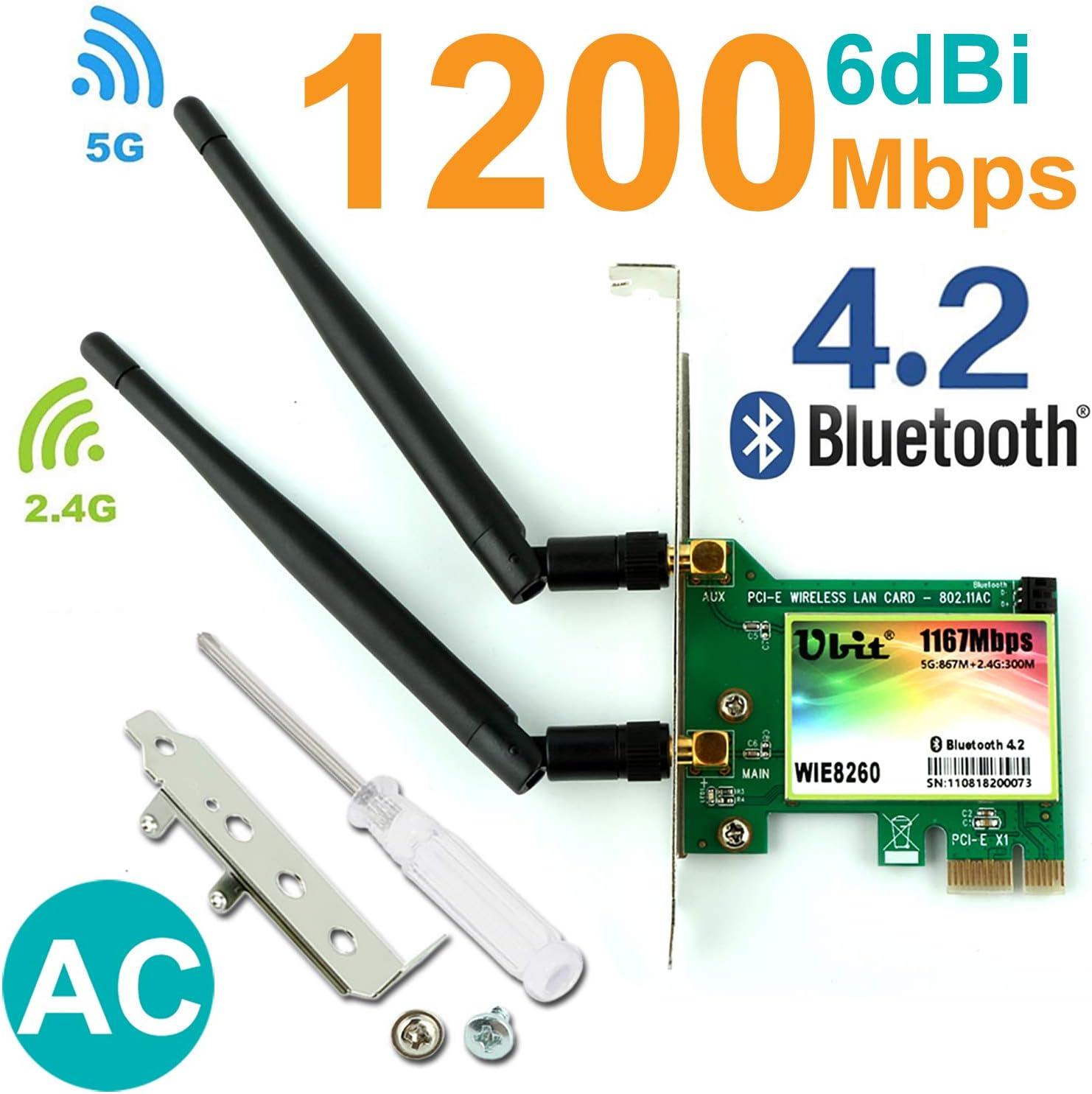 WiFi Card AC1200, Gigabit Dual Band Wireless-AC 8260 Wireless Network Card, Bluetooth 4.2 Network WiFi Adapter, Wireless Dual-Band 5G/2.4G, PCI-E ...