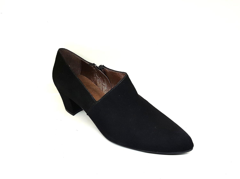 Zapatos Abotinados de Piel con Tacon Cubano 5 cm para Mujer con Cierre de Cremallera: Amazon.es: Zapatos y complementos
