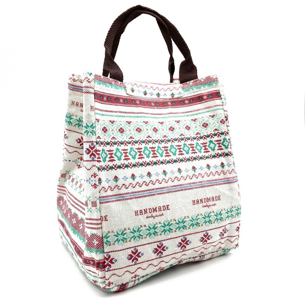 Aookey Cute Reusable Cotton Lunch Bag Insulated Lunch Tote Soft Bento Cooler Bag (Flower)