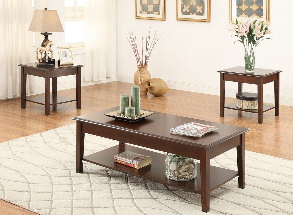 Poundex Coffee Table.Amazon Com Poundex F3139 Laurine 3 Piece Brown Wood Coffee Table