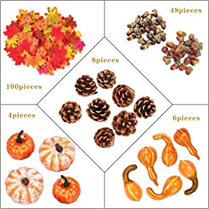 166Pcs Fall Harvest Decor Artificial Silky Mini Pumpkin Gourd Acorns Berries Maple Leaves Sunflowers for Falling Wedding Thanksgiving Halloween Party Table Home Decor