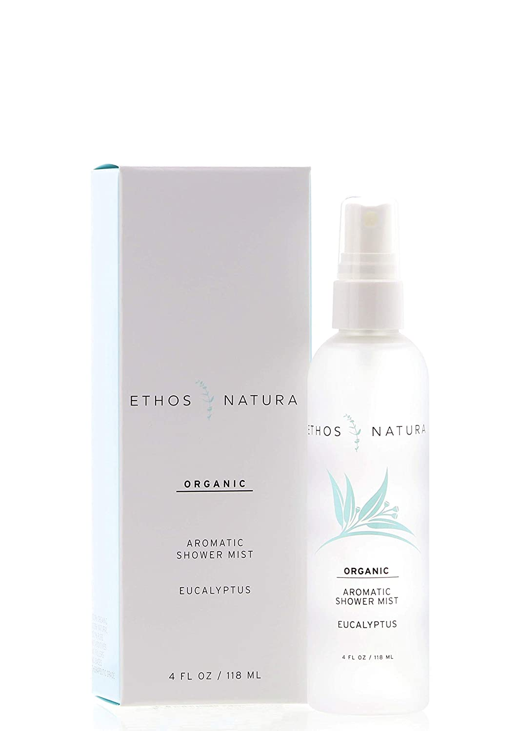 Ethos Natura Organic Eucalyptus Aromatic Shower Mist, Luxury Eucalyptus Oil Steam Shower Spray for Aromatherapy, Pure Organic Therapeutic Grade Essential Oil Spray to Create a Spa Room at Home (4 oz.)