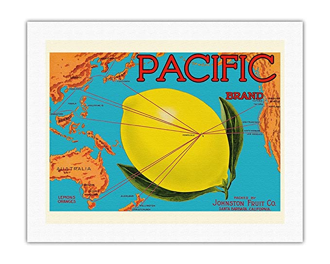 Pacifica Island Art Marca del Pacífico-Johnston Fruit Co.-Mapa del ...