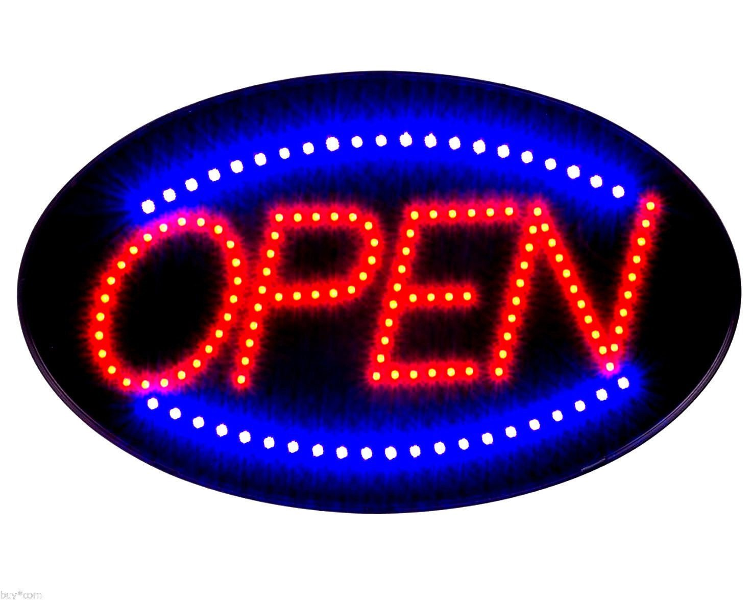Jumbo 24'' x 13'' LED Neon Sign with Motion - ''OPEN'' (Red/Blue) B30