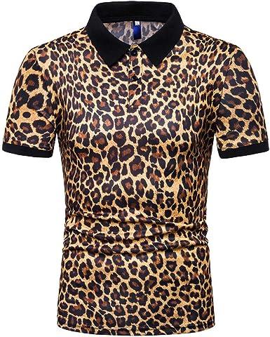 Camisetas Hombre Originales Divertidas, Camisetas Hombre Manga Corto, Blusa Superior Casual De Gran TamañO con Estampado De Leopardo A Rayas De Manga Corta: Amazon.es: Ropa y accesorios