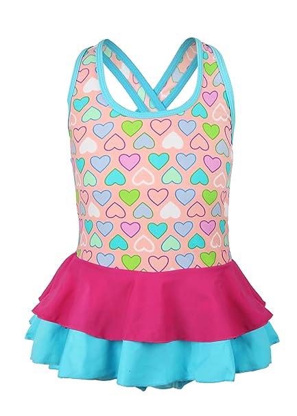 Uhnice Girls One-Piece Swimwear Kids Heart Pattern Pleated Swimdress Swimsuit