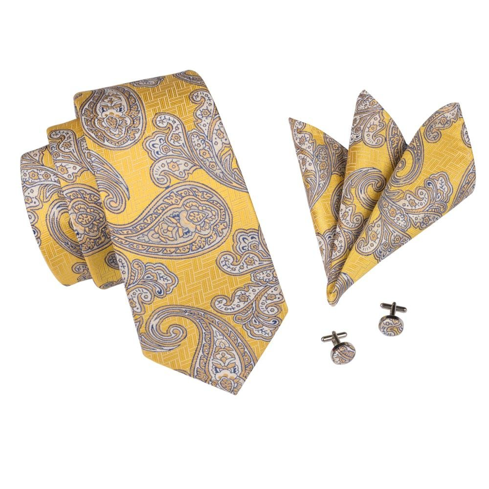 Paisley Ties for Men 100/% Hand-Made Silk Tie Hanky Cufflinks Pocket Square Jacquard Woven