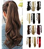 Wrap Around Synthetic Ponytail One Piece Heat Resistant Magic Paste Pony Tail Long Wavy Curly Soft Silky for Women Lady Girls 24'' / 24 inch (medium brown)