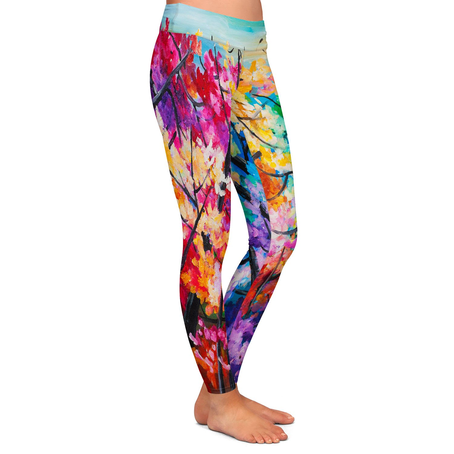 Treetop Colorful 2 Athletic Yoga Leggings from DiaNoche Designs by Lam Fuk Tim