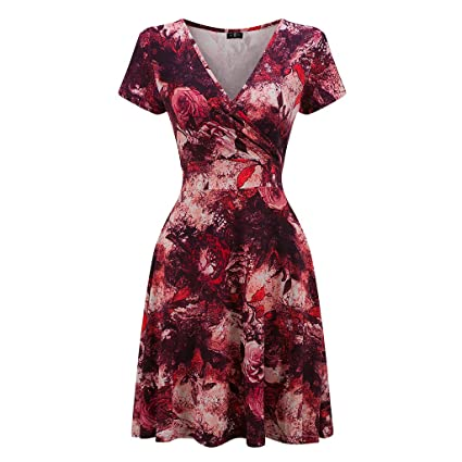 KeKeD23921 Vintage Dress Short Sleeve Elegant Christmas Party Vestidos Sundress Retro Print Summer Dress FemaleDress Vestidos at Amazon Womens Clothing ...