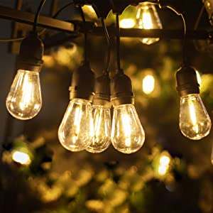 LUKASUMI LED Outdoor String Lights, 52FT Commercial Grade Waterproof Plastics Edison Vintage Bulbs, Hanging Strand for Patio Garden Porch Backyard Deck Yard, Low Voltage, Wedding Party Decor