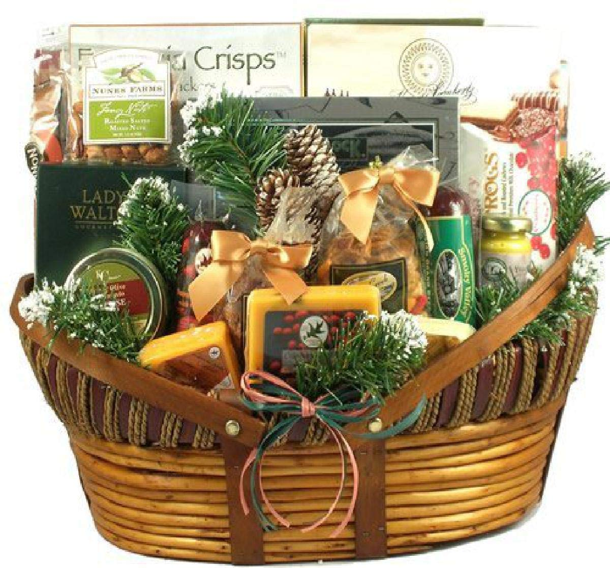 Gift Basket Village Home For The Holidays, Christmas Gift Basket With Unique Wisconsin Meats And Cheeses, Mixed Nuts, Sweets And More (XL), 16 Pounds