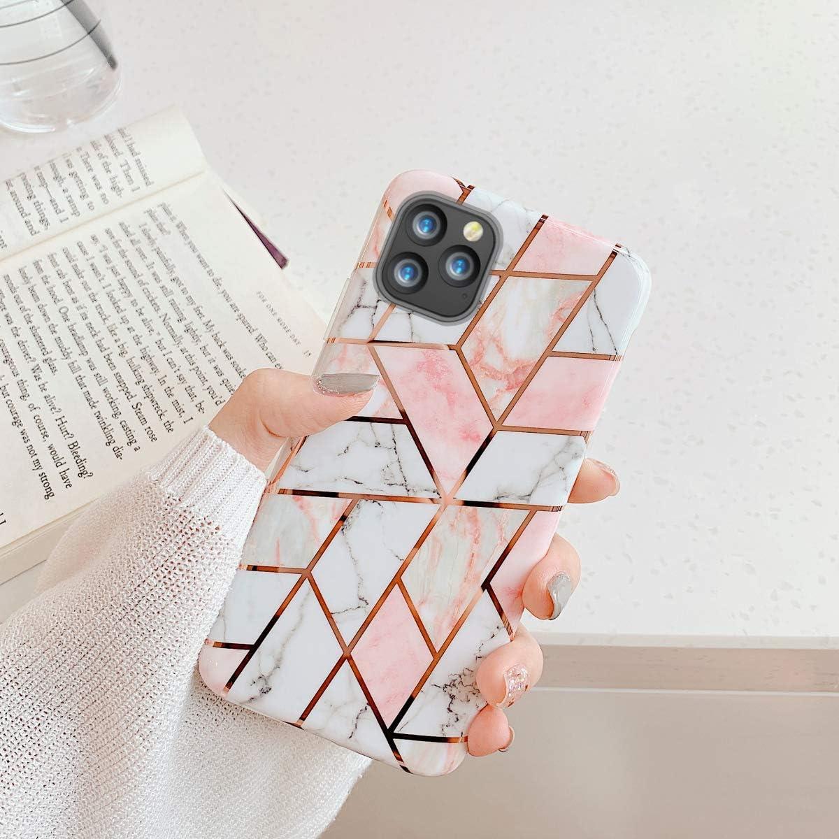 Arbre Oihxse Compatible pour iPhone 11 2019 6.1 Coque Marbre Motif Stitching Crystal Ultra-Mince Protection Housse en Silicone TPU Souple Flexible Bumper Anti Choc Etui Case