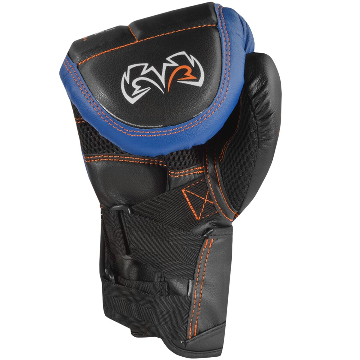 RIVAL BOXING GLOVES (RB10 INTELLI-SHOCK BAG GLOVES) (BLACK/BLUE, MEDIUM) by Rival (Image #2)