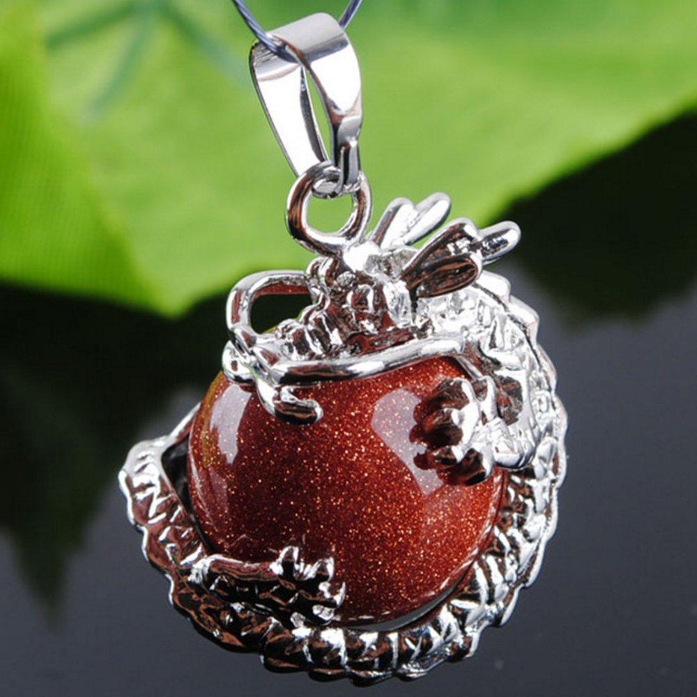 jennysun2010 Natural Black Line Rhodochrosite Gemstone Dragon Round Ball Reiki Chakra Healing Pendant Necklace Beads 3 pcs per Bag for Necklace Earrings Jewelry Making Crafts Design