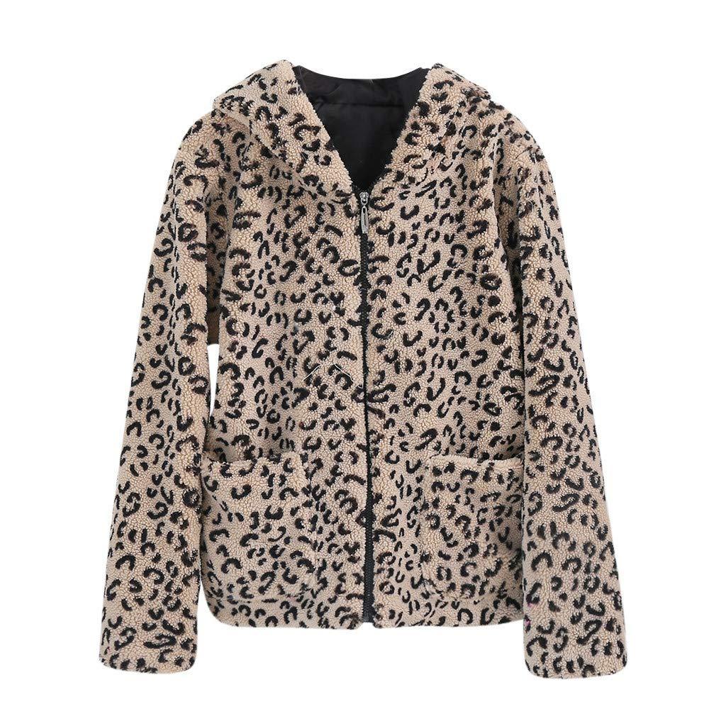 Lefthigh Ladies Fashion Leopard Hooded Short Wool Granular Jacket Coat Women Long Sleeve Pockets Pellet Fleece Outwear by Lefthigh