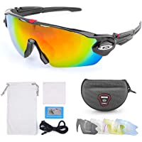 WenderGo Cycling Glasses Polarized Sports Sunglasses, Clear Lens and UV400 Protection,Sunglass for Cycling Man/Woman 1 Pack with 5 Interchangeable Lenses(Black,Colourless,Blue,Yellow)