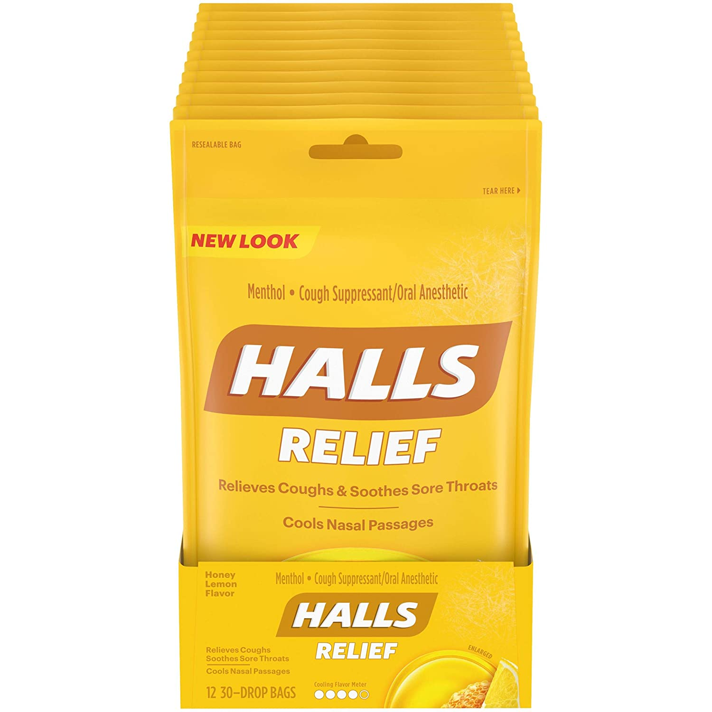 HALLS Relief Honey Lemon Flavor Cough Drops, 12 Bags (360 Total Drops) : Grocery & Gourmet Food