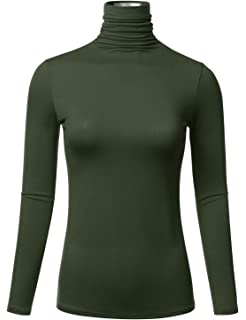 FLORIA Womens Long Sleeve Lightweight Slim Turtleneck Top Pullover ...