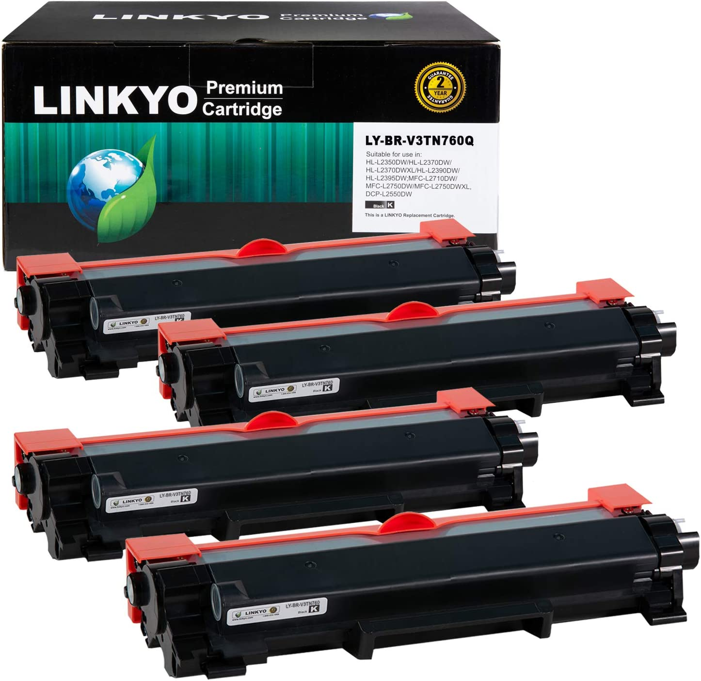LINKYO Compatible Toner Cartridge Replacement for Brother TN760 TN730 (4-Pack, High Yield, Design V3)