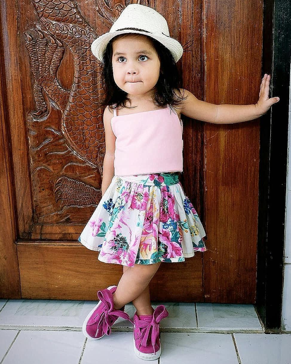 Baby Halter Sleeveles Pnk Tanks Tops+Vivid Rose Floral Print Short Skirt Dress Girls Clothing Set