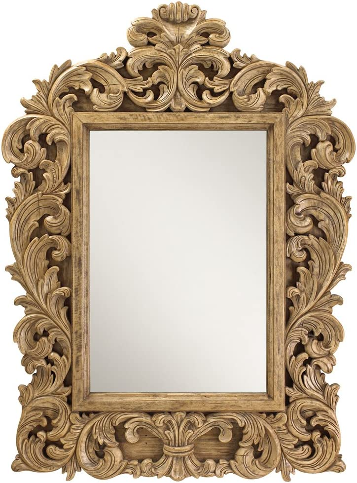 Kathy Kuo Home Chaumont French Country Carved Leaves Mango Wood Wall Mirror