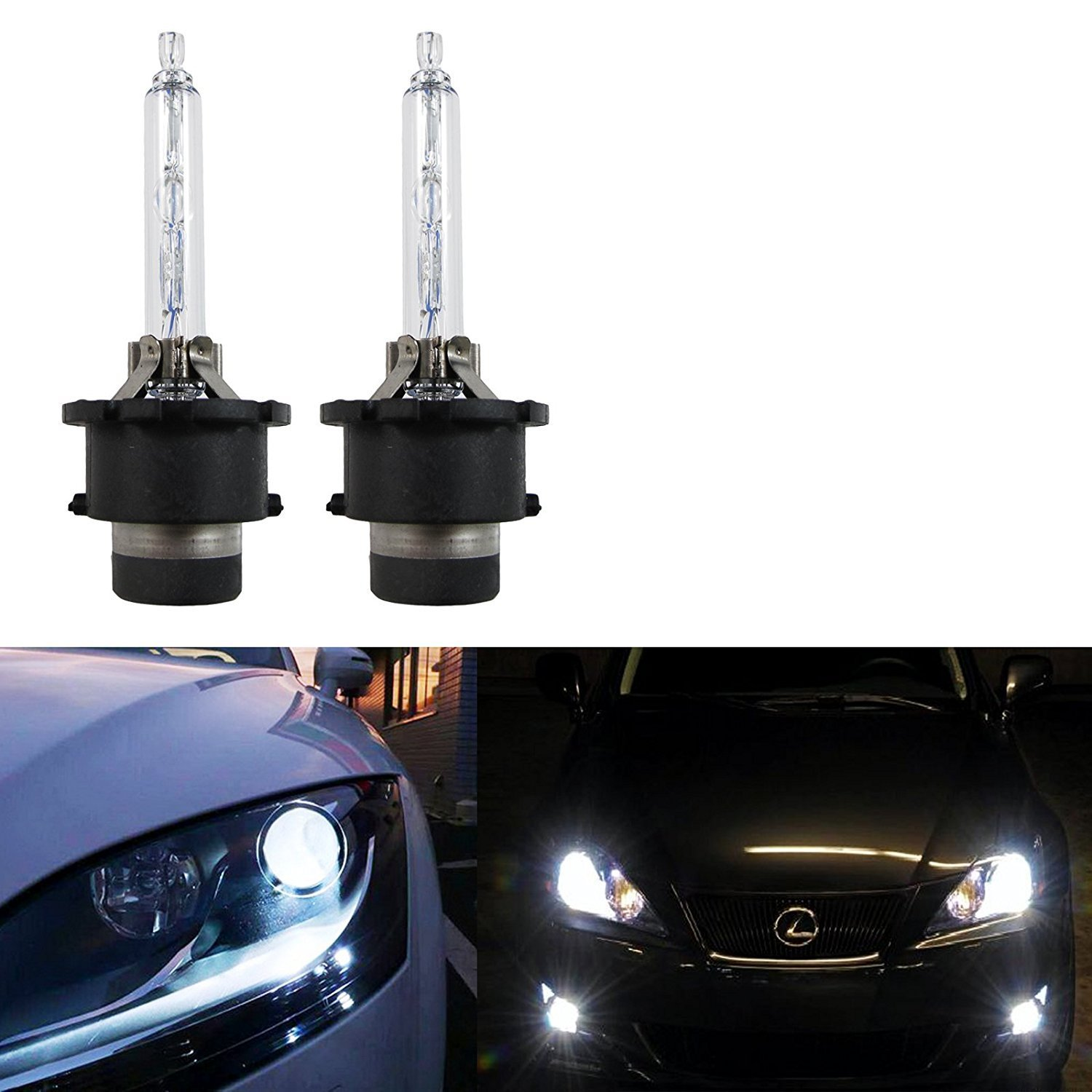 Xotic Tech 2X Xenon White 6000K HID D2S/D2R HID Direct Replacement Headlight Low Beam Bulbs