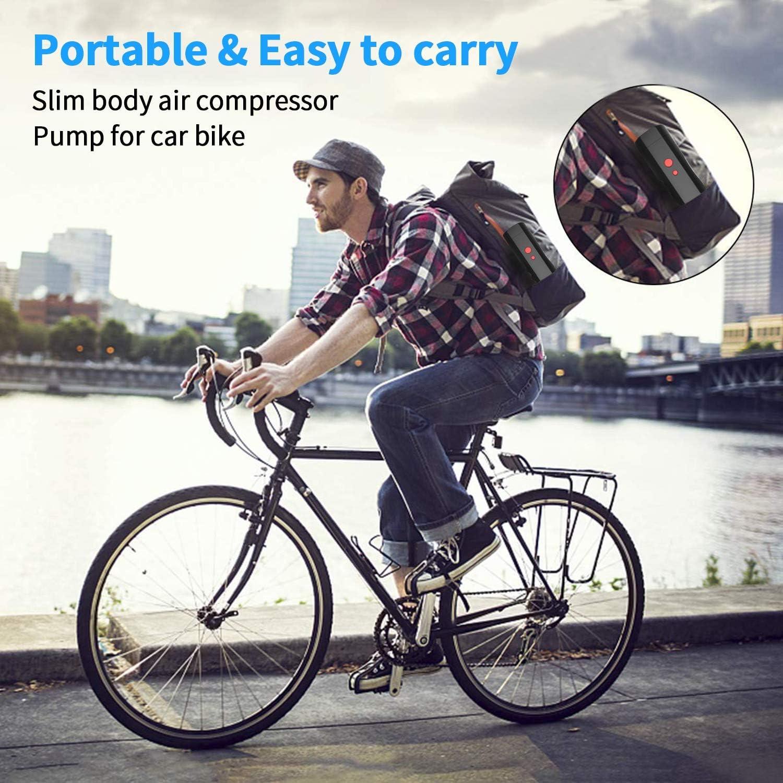Digital Portable Luftpumpe mit LCD Bildschirm Luftkompressor Elektrische Luftpumpe 2200mAh Lithium-Akku f/ür Auto Fahrradb/älle Schwimmringe Spielzeug 120PSI 12V Kompressor Luftpumpe LED//SOS Licht