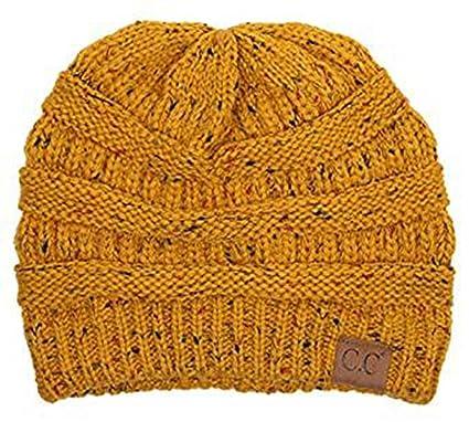 7f9e6b87e1567b C.C Trendy Warm Chunky Soft Stretch Cable Knit Slouchy Beanie Skully HAT20A  (Confetti Mustard)