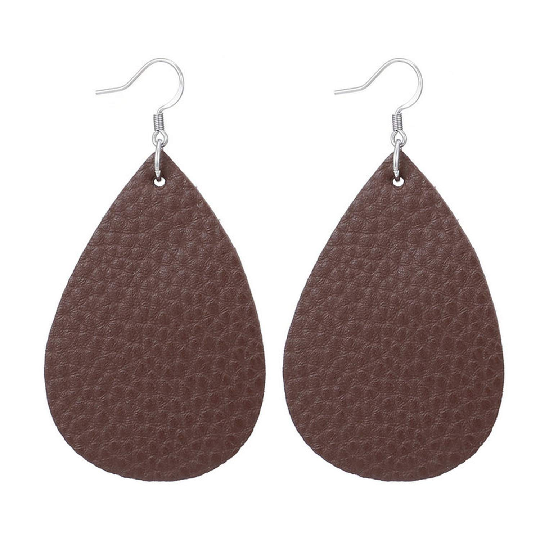 Carved Stainless Steel Earrings PU Leather Earring Ethnic Boho Teardrop Dangle Wedding Jewelry Party Gift