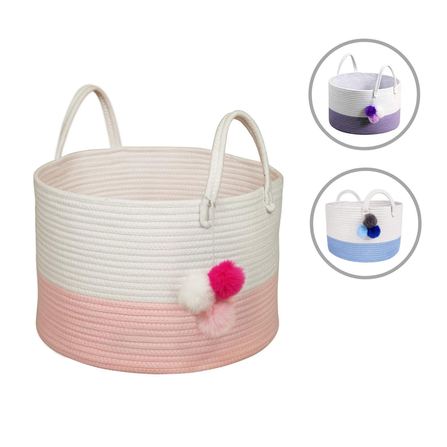 Solaya Short Pink Cotton Rope Basket Storage 16''x10''- Large Natural Cotton Woven Basket w/Handles - Decorative Storage Basket for Laundry, Clothes, Diapers, Toys, Hamper, Towels by Solaya