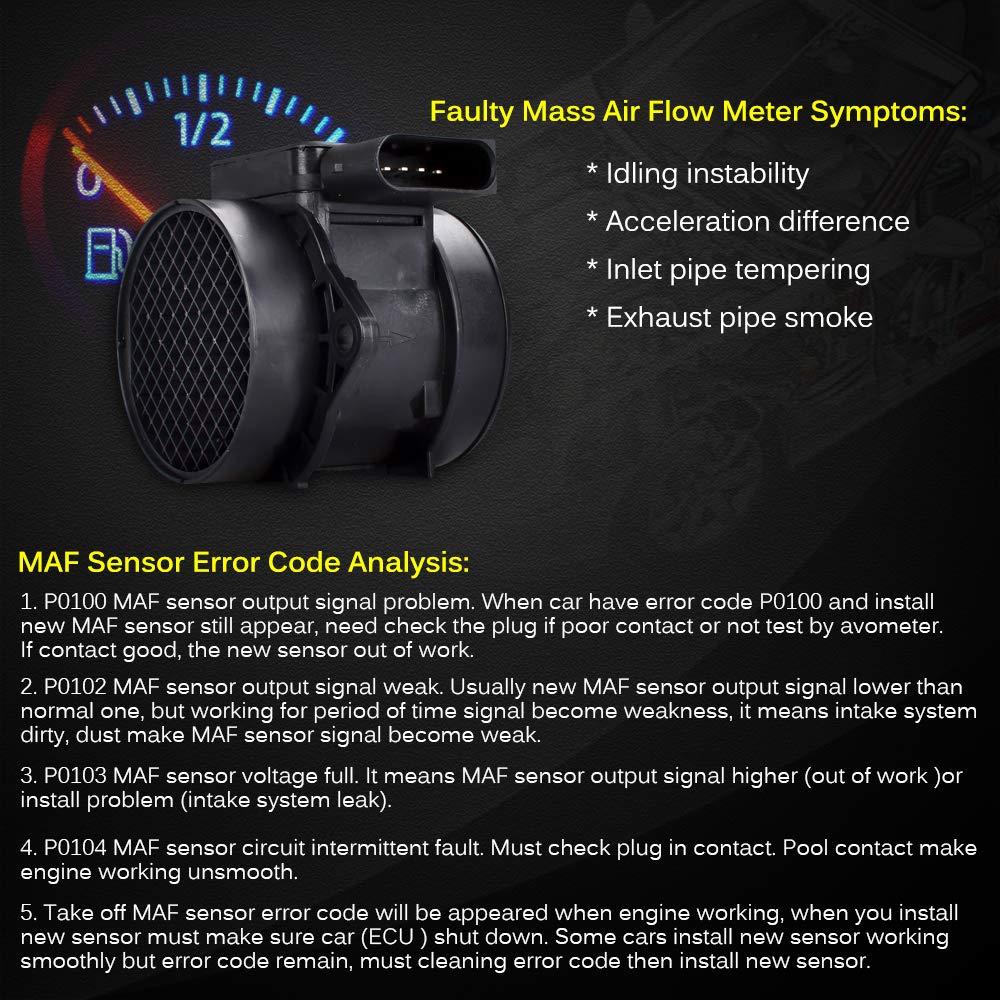 FAERSI Compatible with Hyundai Accent 03 04 05 06 07 08 09 10 Elantra,03-08 Hyundai Tiburon,07-09 Magentis,04-09 Spectra,05-09 Spectra5 Mass Air Flow Sensor ReplaceOE# 28164-23700 5WK96431 28164-25000