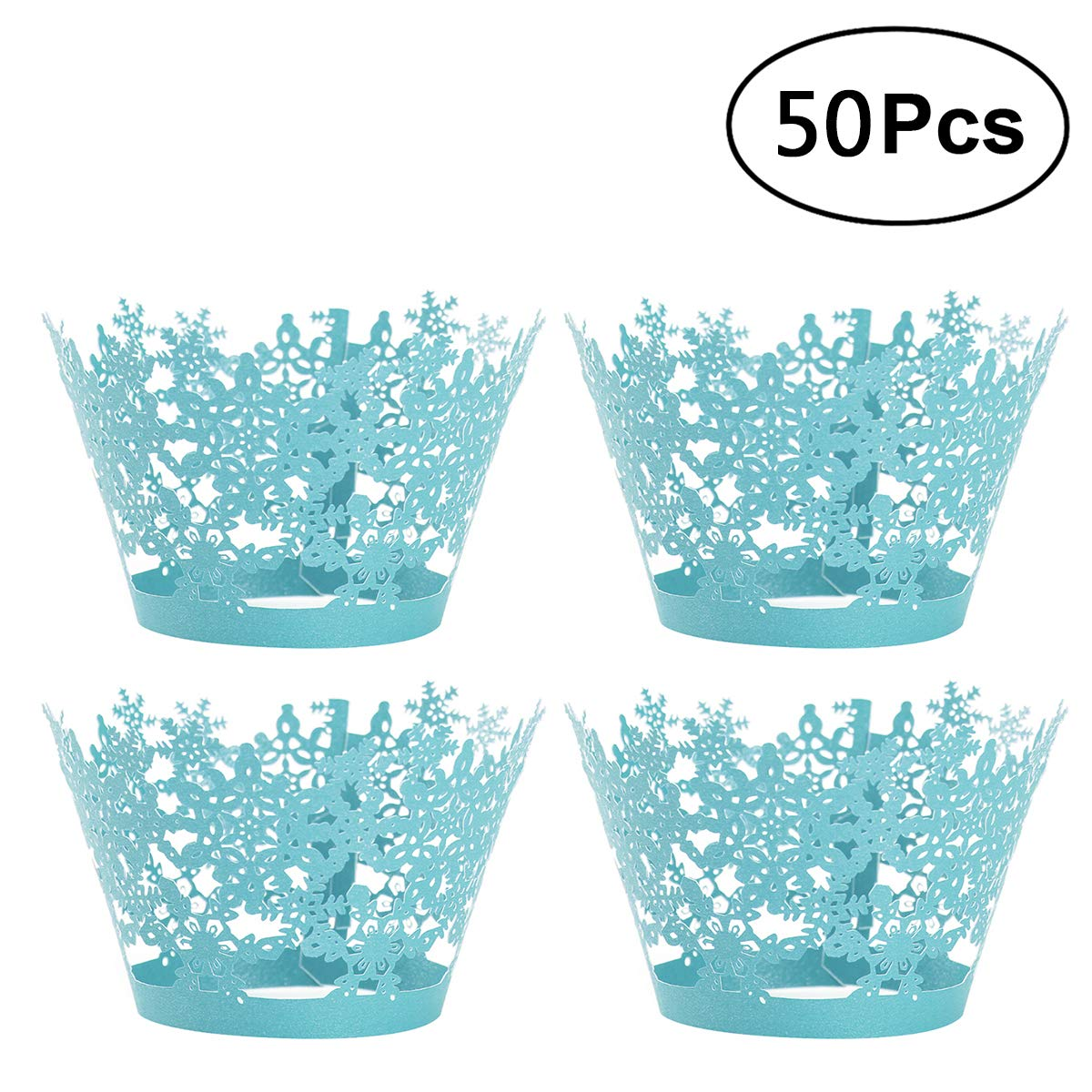 SUPVOX 50pcs Artistic Hollow Out Cupcake Wrappers Lace Liner Baking Cup Muffin Holder Case for Wedding/Birthday Decoration (Sky Blue)